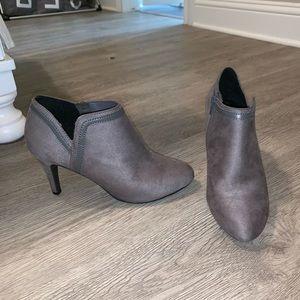 gray T heel ankle booties